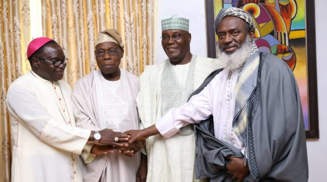 PHOTOS: Kukah, Oyedepo, Gumi join Atiku at Obasanjo's residence