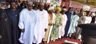 Oshiomhole absent as Fayemi is sworn in