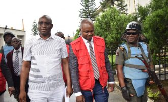 PHOTOS: Fayose arrives court ahead of his trial