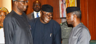 PHOTOS: Fayemi all smiles as Osinbajo welcomes him to NEC meeting