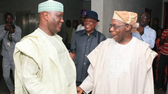 Image result for Atiku storms Obasanjo's residence with PDP leaders