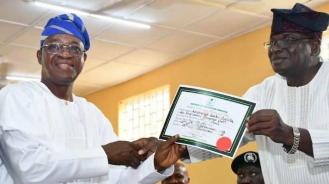 Oyetola receives certificate of return from INEC, promises to be people-friendly
