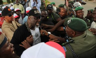 VIDEO: Melaye confronts policemen at INEC head office