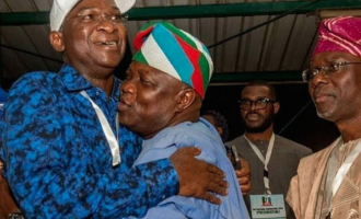 PHOTOS: Sanwo-Olu watches as  Ambode hugs Fashola at APC convention