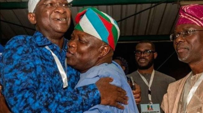 PHOTOS: Sanwo-Olu watches as  Ambode hugs Fashola at APC convention