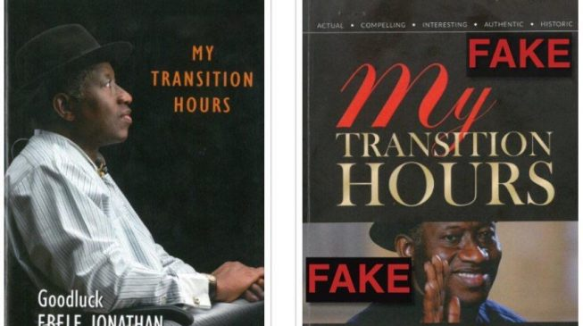Jonathan raises the alarm on fake e-version of 'My Transition Hours'