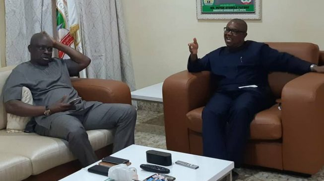 PHOTOS: Fayose hosts Peter Obi at his Lagos residence
