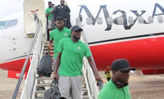 Super Eagles arrive Asaba after picking 2019 AFCON ticket