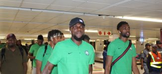 PHOTOS: Super Eagles land in Johannesburg for Bafana Bafana clash