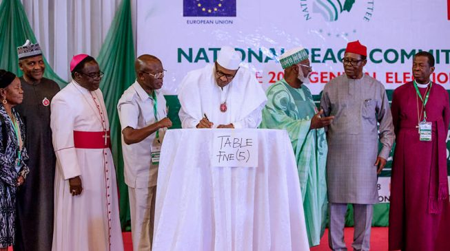 VIDEO: The moment Buhari signed peace accord for 2019 polls