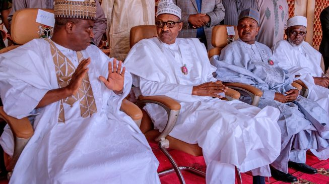 PHOTOS: Shagari 'reunites' Buhari and Tambuwal