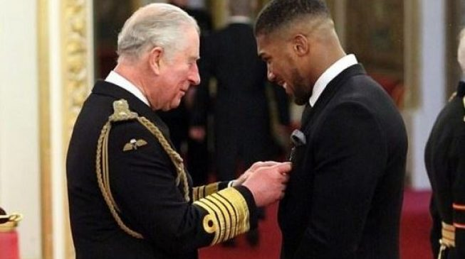 Boxing champion, Anthony Joshua gets awarded OBE title by Prince Charles