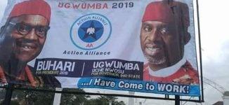 EXTRA: Okorocha's in-law using Buhari's image to campaign — despite leaving APC