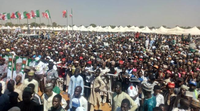 Mammoth crowd as Jonathan, Lamido, Kwankwaso lead PDP rally in Sokoto