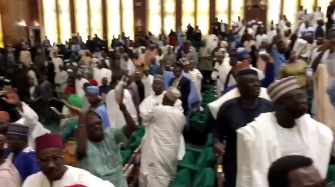 Lawmakers exchange blows during budget presentation