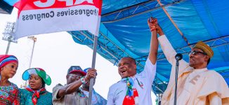 EXTRA: 'I hand over this flag to our governortorial candidate' — Buhari goofs again