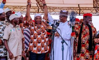 Vote who you want, says Buhari in Imo as Okorocha, Oshiomhole back different candidates