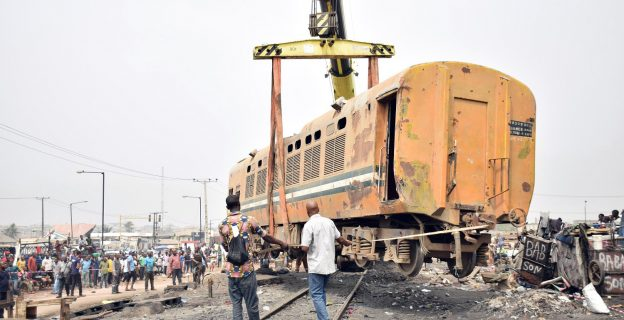 Aftermath of train derail in Lagos