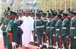 VIDEO: Buhari inspects parade during armed forces remembrance day