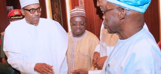 PHOTOS: Obasanjo, Buhari come face-to-face after 'letter bomb'