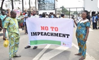 PHOTOS: Ambode's supporters storm Lagos assembly over impeachment move
