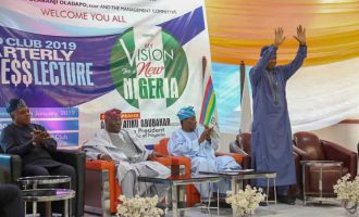 PHOTOS: Obasanjo, Atiku take 'battle against Buhari' to Island Club