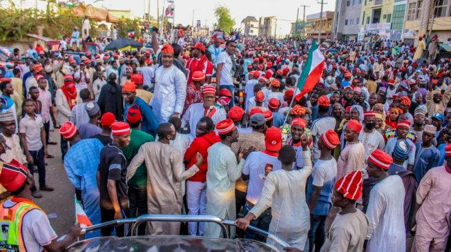 PHOTOS: Atiku receives heroic welcome in Buhari's stronghold
