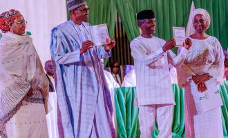 PHOTOS: Buhari, Osinbajo receive certificates of return from INEC