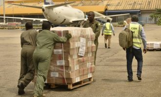 PHOTOS: Air force moves INEC materials from Abuja to different states