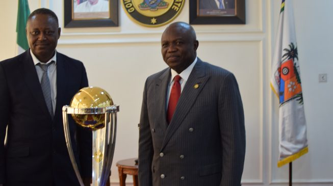 Ambode receives cricket trophy in Lagos