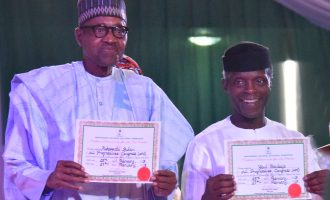 INEC presents Buhari, Osinbajo with certificates of return