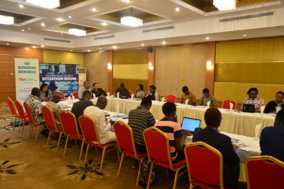 Images from the pre-election training of Situation Room and TheCable