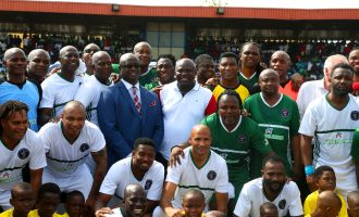 Football legends honour Ambode