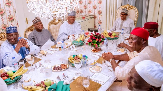 PHOTOS: Buhari hosts Saraki, Dogara at Aso Rock