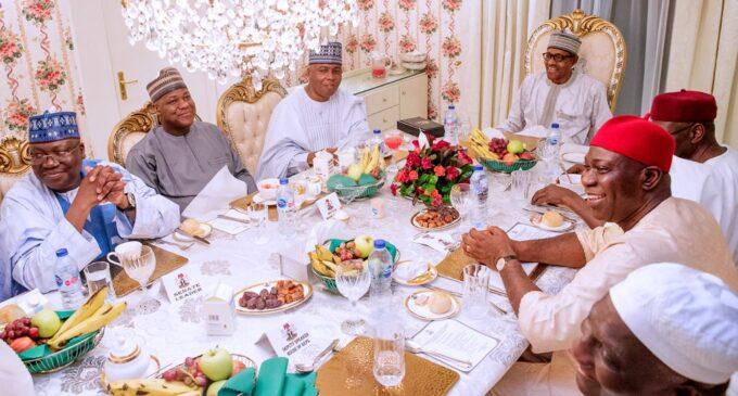 PHOTOS: Buhari hosts Saraki, Dogara at Aso Rock