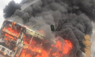 BRT bus catches fire on third mainland bridge