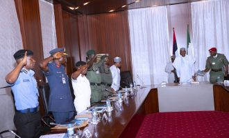 PHOTOS: Service chiefs brief Buhari for the second time in 48 hours