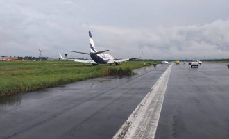 Air Peace plane overshoots runway, lands inside the bush
