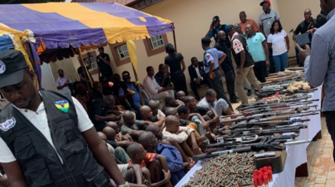 38 suspects of armed robbery and kidnapping are been arrested by the police