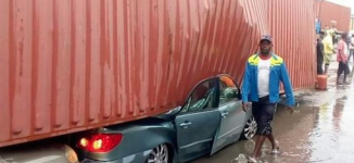 PHOTOS: Container crushes cars in Apapa