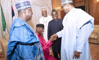 TRENDING: Omo-Agege kneels before Buhari