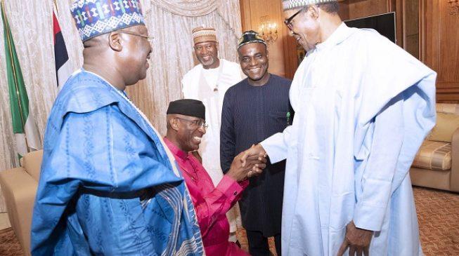 TRENDING: Omo-Agege kneels before Buhari