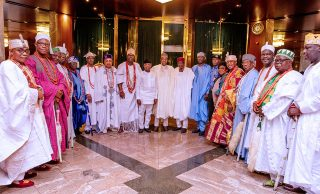 PHOTOS: Buhari hosts south-west monarchs at Aso Rock