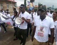 PHOTOS: Protesters ask Adeboye to speak against 'nationwide killings'