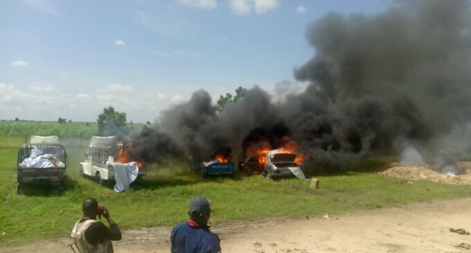 Army sets four fish trucks on fire to cut off Boko Haram's 'source of fund'