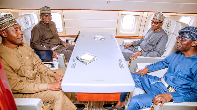 PHOTOS: Zulum, Sanwo-Olu accompany Buhari to Japan