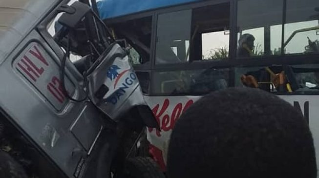 One dead, many injured as Dangote truck collides with BRT bus in Lagos
