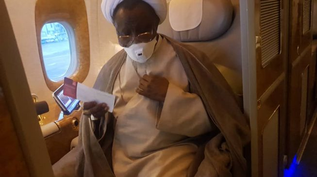 SPOTTED: El-Zakzaky on board aircraft to India
