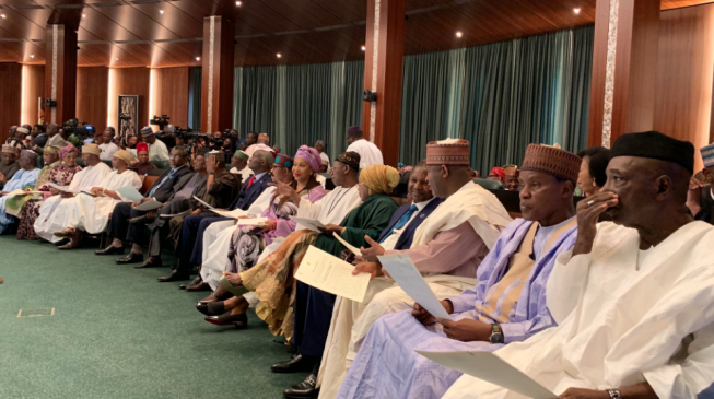 How it went: The swearing in of Buhari's ministers