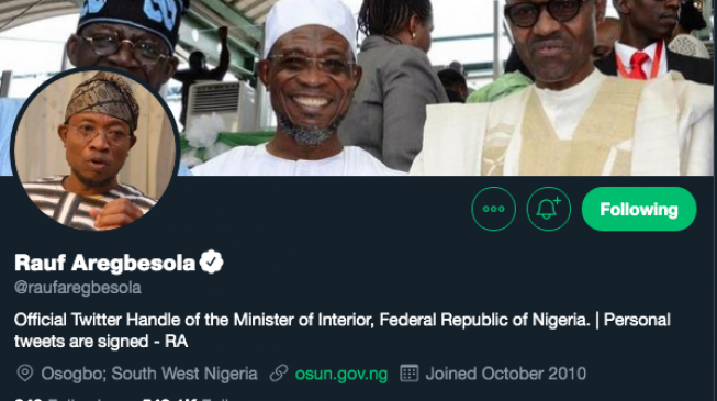 EXTRA: Aregbesola updates Twitter profile '20 minutes' after inauguration